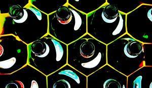 glass green bottles altered